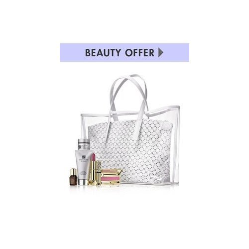 ESTEE LAUDER White Tote Bag +6 Pieces Cosmetics Gift .