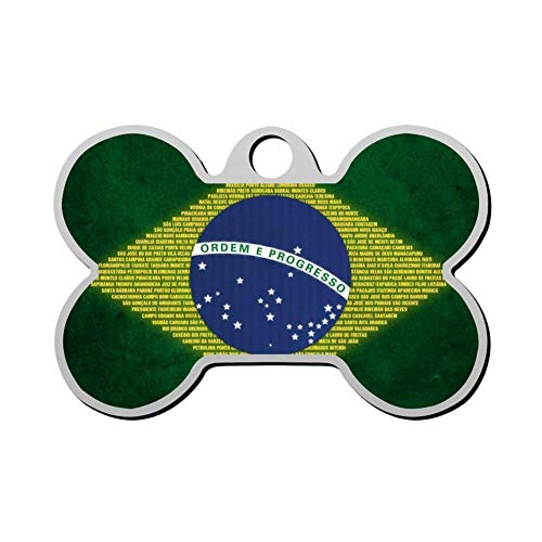 BSARRE Personalized Pet ID Tags for Dogs & Cats Bandeira Brasil Double Sided Bone Dog Tag (Cool Cat Sonnenbrille)