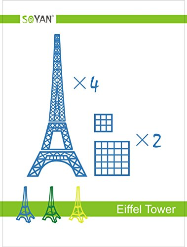 Soyan 2018 New Design 3D Pen Templates, Total 22 Pieces 3D Drawing Stencils Includes Eiffel Tower, Bicycle, Peacock, House, Helicopter etc. (EP1)