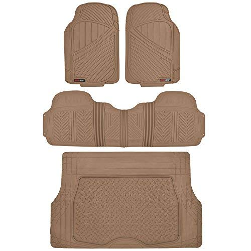Motor Trend Flextough Rubber Car Floor Mats & Cargo Trunk Mat Set Black Heavy Duty - Odorless, Extreme Duty (Beige)