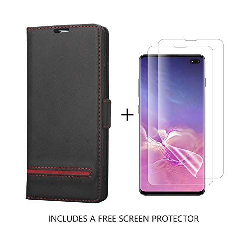 Galaxy S10 Plus Case,AKOPUGA Free [Curved Full Screen Protector] [Vegan Leather] Samsung S10 Plus/S10+ (6.4'') Wallet Case [Magnetic Closure] [Credit Card Holder] Flip case for S10 Plus(6.4''),Black
