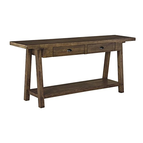 Signature Design by Ashley T863-4 Sofa Table, Weathered Brown (Table Entry Long)