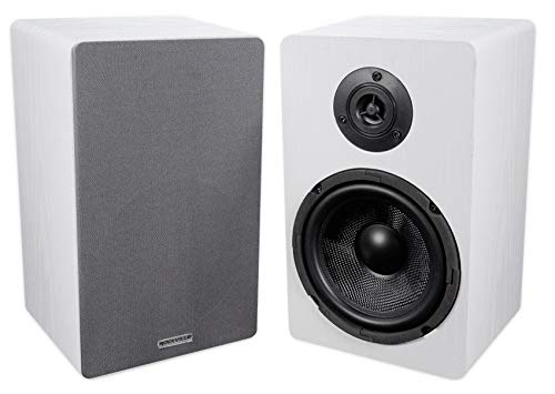 Pair ROCKVILLE RockShelf 64W White 6.5' Home Bookshelf Speakers W/Kevlar Woofers
