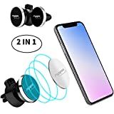 FIYAPOO Magnetic Phone Car Mount Holder, Magnetic Phone Holder for Car Air Vents, Universal Car Holder with 6 Metal Plates Compatible for Cell Phone iPhone XR X 8 Plus 7 Galaxy S9 S8 S7/GPS, 2-Pack
