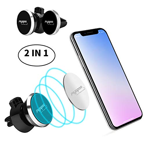 FIYAPOO Magnetic Car Holder, [2 Pack] Universal Air Vent Magnetic Car Mount for iPhone Xs Max XR X 8 7 Plus 6S 6 SE, Galaxy S9 S8 S7 Edge, LG G6, Note 8 5 and Mini Tablet (Compatible Most Case)