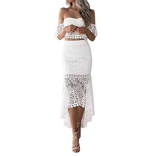 Beihxwe Women Two-Piece Set Lace Hollow Out Irregular One Should Cute Pencil Skirt (L, White) -