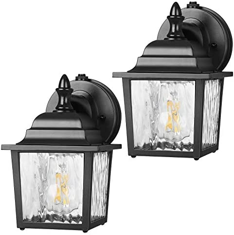 DEWENWILS 2 Pack Dusk to Dawn Wall Light Outdoor, Clear Water Ripple Glass Shade, Exterior Light Fixtures Wall Mount, E26 Socket, Anti-Rust Waterproof Wall Sconce for Garage, Backyard, UL Listed