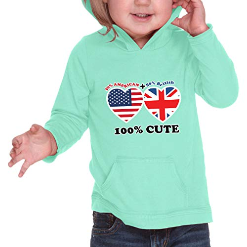 50% British + 50% American = 100% Cute Long Sleeve Hooded Infant Boys-Girls Cotton/Polyester RawEdge Hoodie Sweatshirt - Ice Green, 12 ()