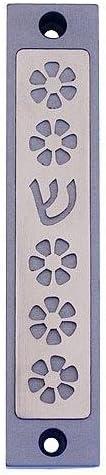 Black Baltinester Agayof Flower and Shin Cut-Out Mezuzah 2 x 10cm