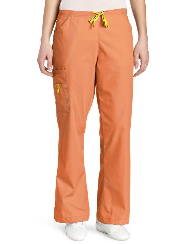 WonderWink Women's Scrubs Romeo 6 Pocket Flare Leg Pant, Orange Sherbet, Medium/Tall