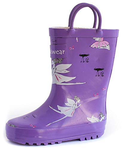 OAKI Kids Rubber Rain Boots with Easy-On Handles, Purple Fairies, 5T US Toddler