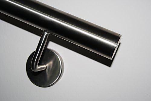 Edelstahl Handlauf V2A 42,4mm 240K geschliffen Wandhandlauf mit gerader Endkappe 1000 mm