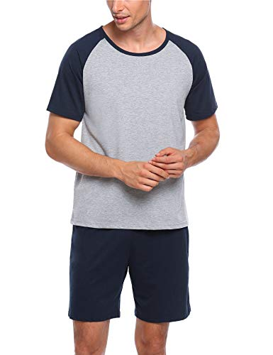 (Ekouaer Mens Raglan Short-Sleeve Top with Shorts Pajama Sets (XL, 7143-Navy Blue))