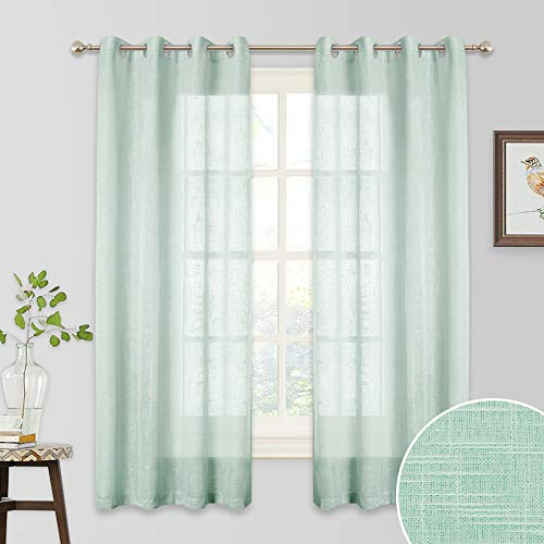 RYB HOME Linen Semi Sheer - Privacy Curtains Light Glare Filtering Brighten up Living Space for Bedroom Kids Playroom Dining Bar Foyer, Width 52 x Length 63 inches, 2 Pcs, Aqua from RYB HOME