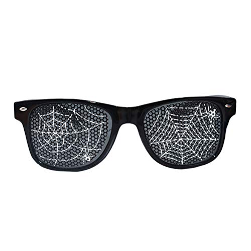 Amosfun Funny Dance Party Makeup Glasses Spider Web Eyeglasses Halloween Costumes for Masquerade Party (Black) -