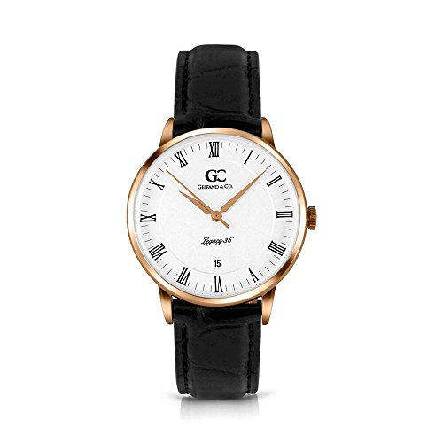 Gelfand & Co. Carmine 36mm Unisex Rose Gold White Dial Black Crocodile Leather Minimalist Watch