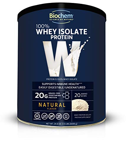 Biochem Whey Protein 100% Natural 24.6Oz, Immune Health & Muscle Support Protein Powder