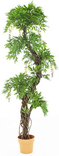Artificial Red Blossom (flowering) Japanese Tree (Japanese Wisteria), Replica Indoor Outdoor Office Topiary Tree Plant - Approx. 6ft Tall