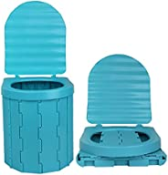 Portable Folding Toilet, Adults Portable Outdoor Home Porta Potty Car Toilet with Lid, Lightweight Strong Load