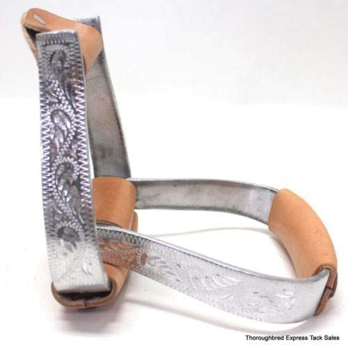 D.A. Brand Aluminum Engraved Stirrups Western Leather Wrapped Tread Horse ()