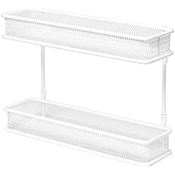 Seville Classics 2-Tier Countertop Mount Multipurpose Organizer, White Wall Spice Rack