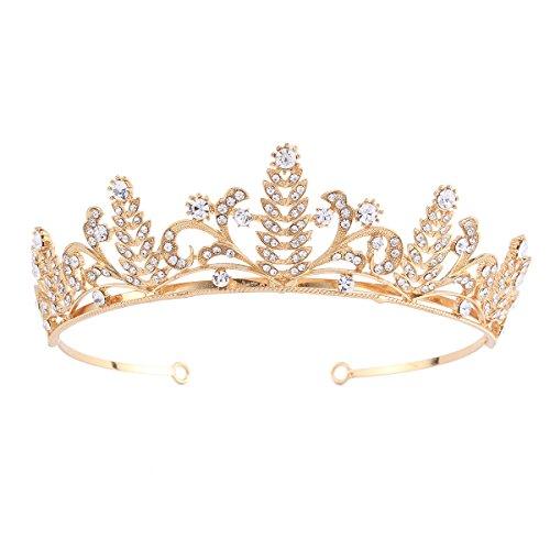 Santfe Bridal Wedding Prom Rhinestone Crystal Crown Hairband Headband Tiara Hair Jewelry for Womens Girls (Gold-3) -