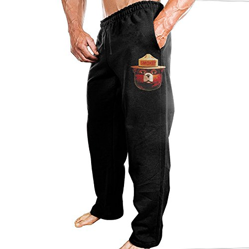FALKING Men's Funny Cotton Sport Smokey Bear Head Jogger Sweatpants M Black