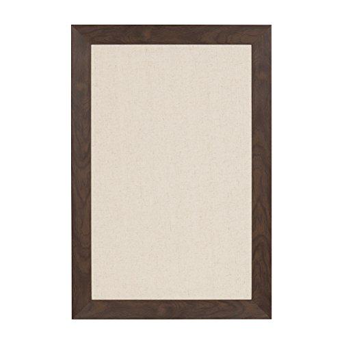 DesignOvation Beatrice Framed Linen Fabric Pinboard, 18x27, Walnut Brown