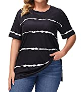 Uoohal Plus Size Tops for Women Casual Summer Short Sleeve Side Slit Shirt Floral T Shirts