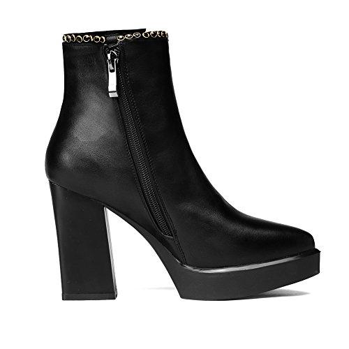 BalaMasa Platform Microfiber Black Girls Ornament Unique Zipper Pinker Boots Winkle Metal r0Tv8frq4