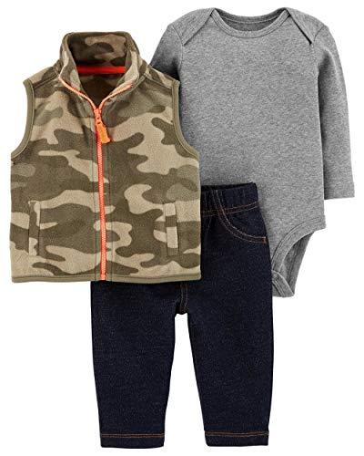 Carter's Baby Boys 3 Piece Vest Set, Camo, Newborn