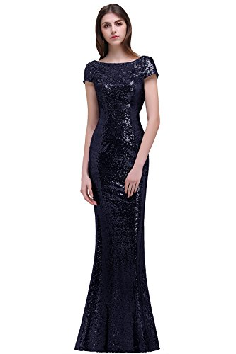 Boat Neck Backless Long Mermaid Bridesmaid Dresses Cap Sleeve Sequins Prom Evening Party Gown Navy ()