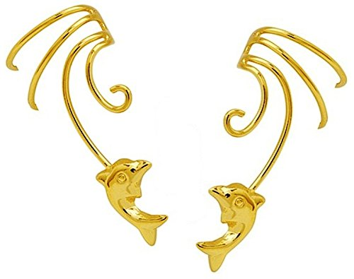 Cuff Dolphins Earrings (Leaping Dolphin Pair Gold On Sterling Non-pierced Wave Ear Cuff Earrings)
