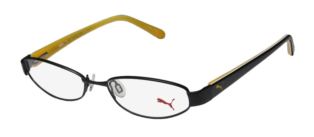 Puma 15357 Pico Mens/Womens Cat Eye Full-rim Spring Hinges Classic Shape Durable Eyeglasses/Eyeglass Frame (48-16-135, Black/Yellow)