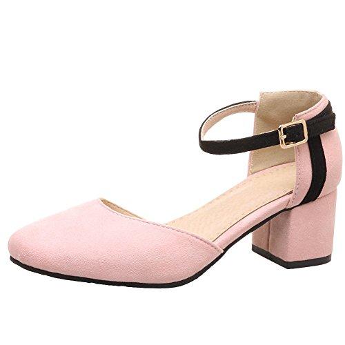 Mee Shoes Damen Blockabsatz Ankle Strap Schnalle Sandalen Pink