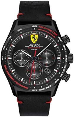 Ferrari Men's Pilota Evo Stainless Steel Quartz Watch with Leather Calfskin Strap, Black, 22 (Model: 0830712)