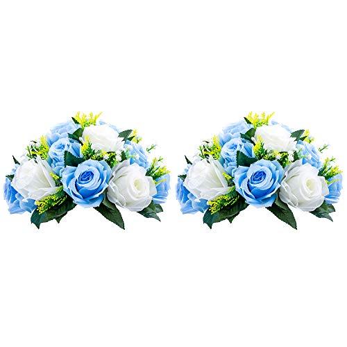 Nuptio Pcs of 2 Fake Flower Ball Arrangement Bouquet,15 Heads Plastic Roses with Base, Suitable for Our Store's Wedding Centerpiece Flower Rack for Parties Valentine's Day Home Décor (Blue & White) (Flower Ideas Silk Centerpiece)
