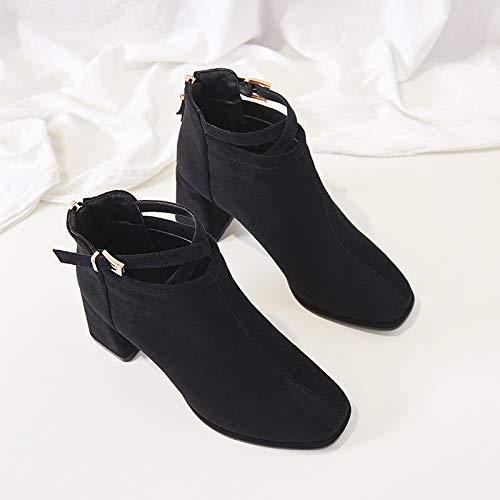 Shukun Shukun Shukun Stiefeletten Herbst und Winter Martin Stiefel Frauen High Heel Stiefel vielseitiger quadratischer Kopf Reißverschluss Kurze Stiefel 4d03da