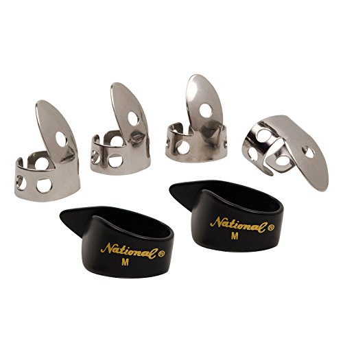 National NP1-7B Thumb & Finger Pick Pack - Stainless Steel/Black - (National Fingerpicks)