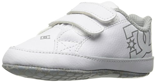 DC Girls' Court Graffik, White/Silver, 4 M US Infant (Shoes Crib Kids Dc)