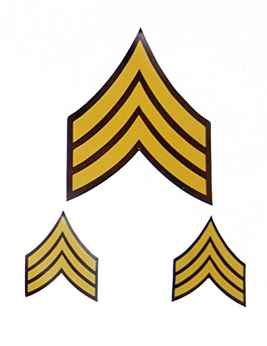 US Army Military Sergeant Rank Stripes Colored SGT Fabric Removable and Re-positional Decal Sticker Set of 3