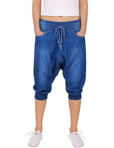Fraternel Pantalones harén mujer sarouel vaqueros Azul