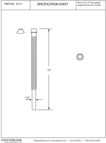 Westbrass 1/2'' x 15'' Corrugated Riser for Faucet and Toilet, Oil Rubbed Bronze, D117-12 by Westbrass (Image #1)