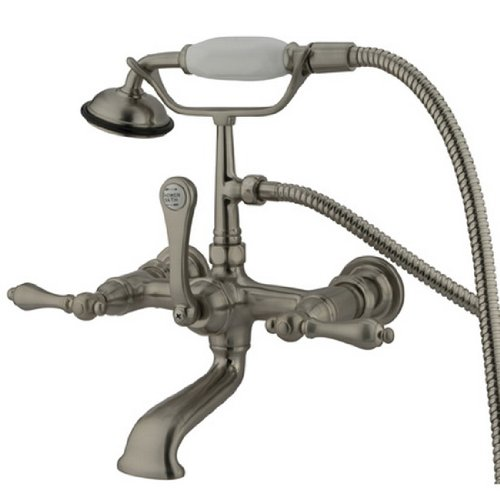 Metal Lever Handle Kingston Brass CC552T1 Vintage Leg Tub Filler with Hand Shower and Straight Arm Polished Chrome