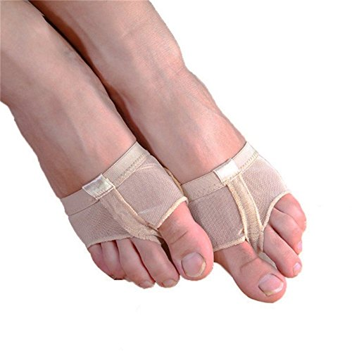 Dance Material For Costumes (Lucktao Professional Belly Ballet Dance Toe Pad Practice Shoes Protection Dance Socks Foot Thongs Foot Care (L size(7.5-8.5), Beige))