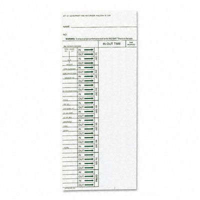 (Acroprint Time Card for Model ATT310 Electronic Totalizing Time Recorder, Weekly, 200/Pack)