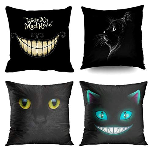 Emvency Set of 4 Throw Pillow Covers Cheshire Cat Halloween Black Mad Here The Logo T Shirt Decorative Pillow Cases Home Decor Square 16x16 Inches Pillowcases ()