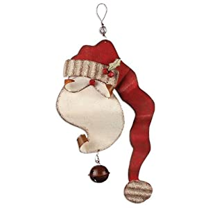"Sunset Vista Designs Rusty Hinge Santa Door Sign, Greeter Santa with Bell, 19"" 38"