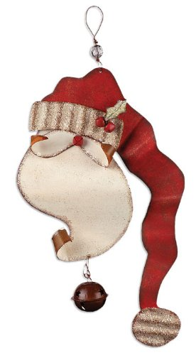 Sunset Vista Designs Rusty Hinge Santa Door Sign, Greeter Santa with Bell, ()
