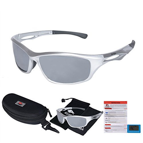 AVIMA BEST Unisex Polarized Tr90 Unbreakable Frame Sports Sunglasses for Running Baseball Cycling Fishing Volleyball Driving Skiing Golf Traveling (Silver/Black Polished With Mercury - For Best Sunglasses Running Women
